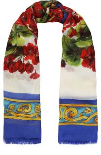 Шарф из смеси вискозы и кашемира с принтом Dolce & Gabbana