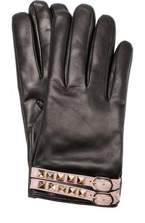 Кожаные перчатки с декором Valentino