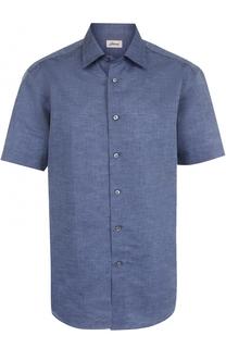 Рубашка из смеси льна и хлопка с короткими рукавами Brioni