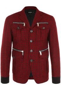 Шерстяная куртка на пуговицах с отложным воротником Dsquared2