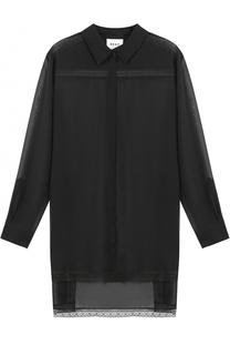 Прозрачная блуза с удлиненной спинкой DKNY