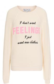 Пуловер свободного кроя с контрастной надписью Wildfox