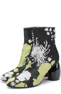 Ботильоны из текстиля с цветочным принтом на фигурном каблуке Dries Van Noten