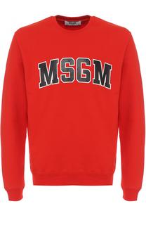 Хлопковый свитшот с логотипом бренда MSGM