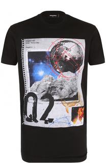Хлопковая футболка с принтом и декоративными потертостями Dsquared2