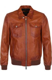 Кожаная куртка на молнии с отложным воротником Dsquared2