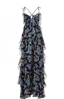 Шелковое платье с цветочным принтом и оборками MSGM