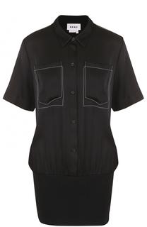 Шелковая блуза с накладными карманами DKNY