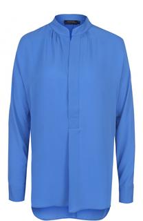 Шелковая блуза свободного кроя с воротником-стойкой Polo Ralph Lauren