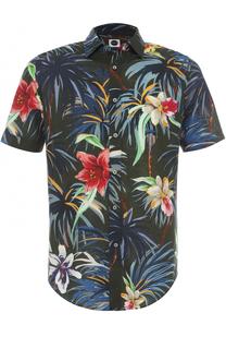 Рубашка с короткими рукавами из смеси хлопка и льна Bagutta