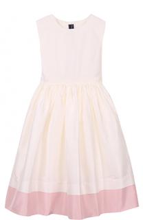 Шелковое платье-миди с пышной юбкой без рукавов Oscar de la Renta