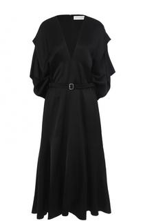 Шелковое платье с поясом и V-образным вырезом Victoria Beckham