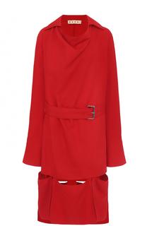 Платье-миди асимметричного кроя с поясом Marni