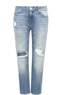 Укороченные джинсы прямого кроя с потертостями MICHAEL Michael Kors