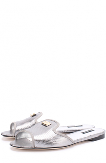 Шлепанцы Bianca из металлизированной кожи Dolce & Gabbana