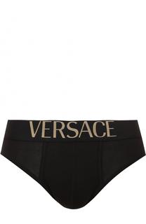 Хлопковые брифы с широкой резинкой Versace