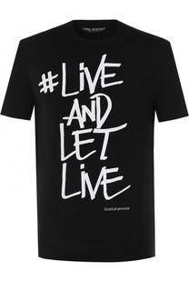 Хлопковая футболка с контрастной надписью Neil Barrett