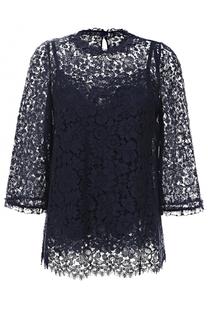 Кружевной топ прямого кроя с укороченным рукавом Dolce & Gabbana