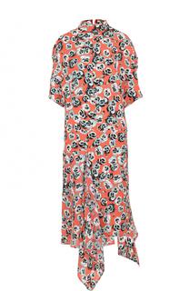 Платье-миди асимметричного кроя с цветочным принтом Marni