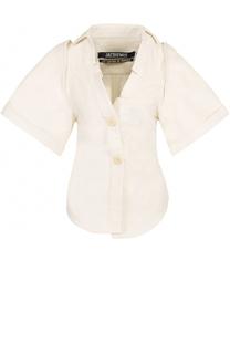 Приталенная хлопковая блуза с коротким рукавом Jacquemus
