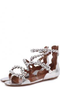 Сандалии из металлизированной кожи с декором Alaia
