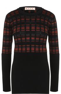 Облегающий пуловер с круглым вырезом Marni