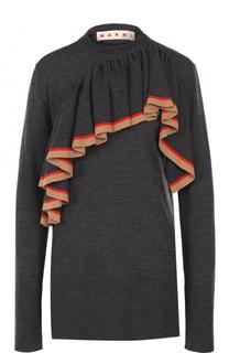 Пуловер с круглым вырезом и оборкой Marni