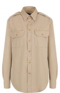 Блуза с накладными карманами и погонами Polo Ralph Lauren