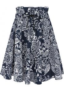 Мини-юбка с завышенной талией и цветочным принтом Fay