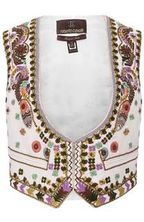 Льняной жилет с контрастной вышивкой Roberto Cavalli
