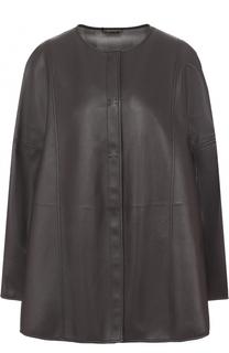 Кожаная куртка свободного кроя с круглым вырезом Giorgio Armani