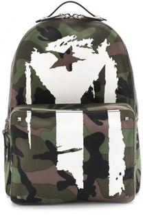 Текстильный рюкзак с камуфляжным принтом и контрастной отделкой Valentino