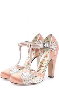 Атласные туфли с вставками из металлизированной кожи Gucci