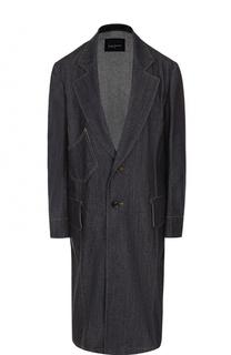 Однобортное джинсовое пальто свободного кроя Yohji Yamamoto