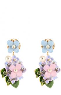 Серьги-клипсы с цветочным декором и кристаллами Swarovski Dolce & Gabbana
