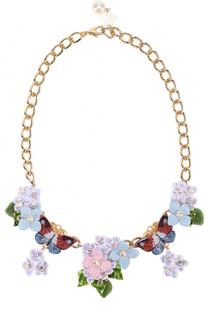 Колье с цветочным декором и кристаллами Swarovski Dolce & Gabbana