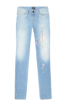 Джинсы прямого кроя с декоративными потертостями и вышивкой Giorgio Armani