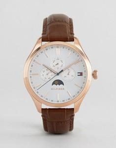 Часы с коричневым кожаным ремешком и хронографом Tommy Hilfiger 1791306 Oliver - Черный
