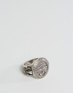 Серебристое кольцо с египетским амулетом глаз Гора ASOS - Золотой