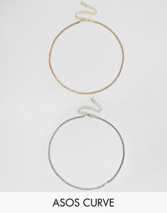 2 ожерелья-чокер из цепочек ASOS CURVE - Мульти
