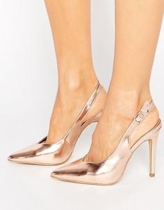 Туфли цвета металлик с ремешком через пятку New Look - Золотой