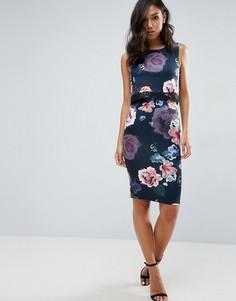 Платье-футляр 2 в 1 с цветочным принтом Lipsy - Мульти