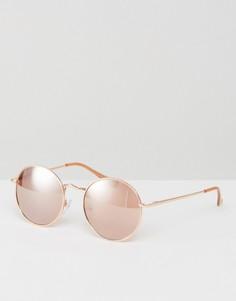 Золотисто-розовые круглые солнцезащитные очки в стиле 90-х ASOS - Золотой