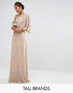 Декорированное платье макси на одно плечо Maya Tall - Розовый