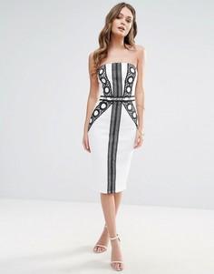 Монохромное платье с лифом-бандо Lipsy - Мульти