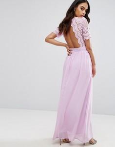 Платье макси с ажурным верхом Club L - Фиолетовый