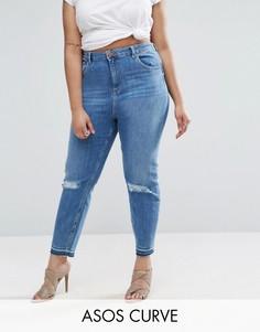 Джинсы в винтажном стиле с рваными коленями и необработанным краем ASOS CURVE Farleigh - Синий
