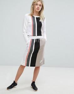 Трикотажная юбка миди с полосками Nike - Серый