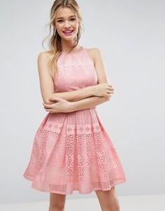 Платье мини для выпускного с ажурной лазерной отделкой ASOS SALON - Розовый
