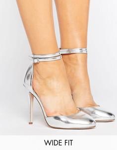 Туфли на высоком каблуке для широкой стопы ASOS PLAYDATE - Серебряный